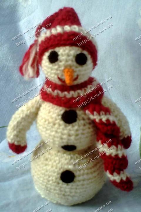 схема вязания снеговика