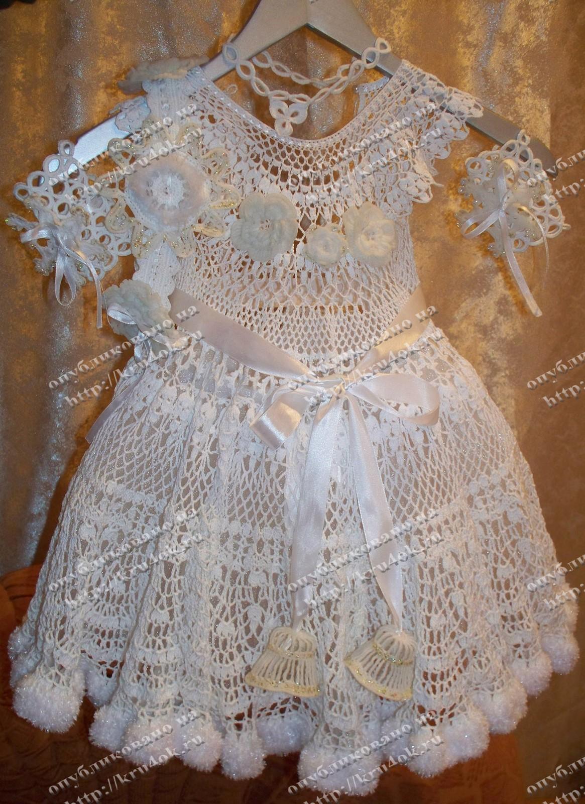 Снежинка платье крючком