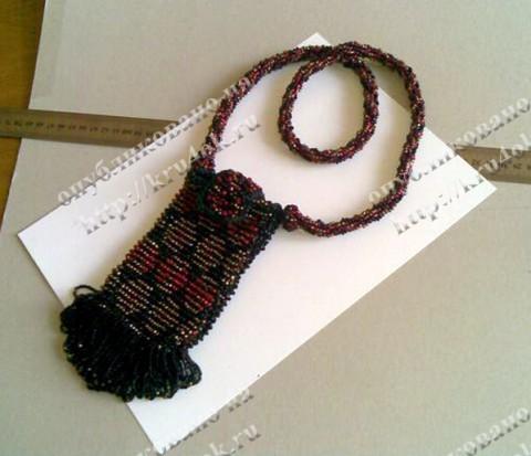 Вязание крючком с бисером, шнурочек - тоже связан (турецкий жгут.