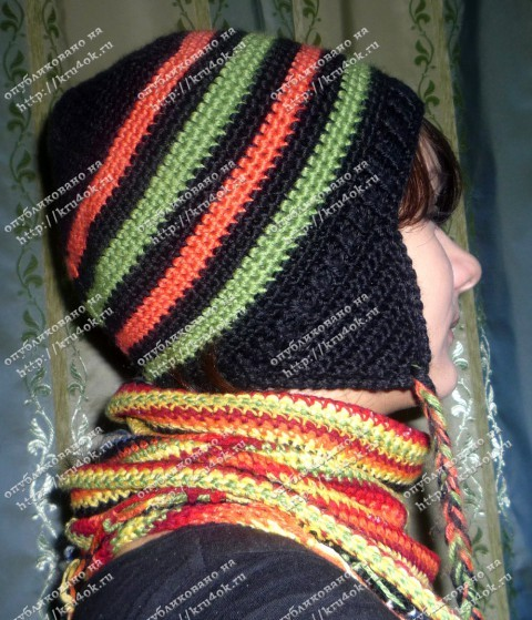 вязаная шапка и косынка
