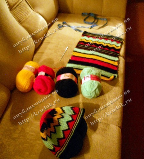 Растаманские шапка и шарф из рубрики.