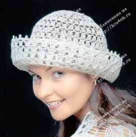 Ажурная льняная шляпка, связанная крючком