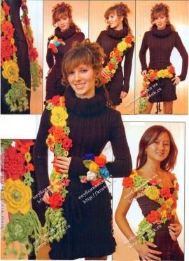 Цветочный шарф, связанный крючком