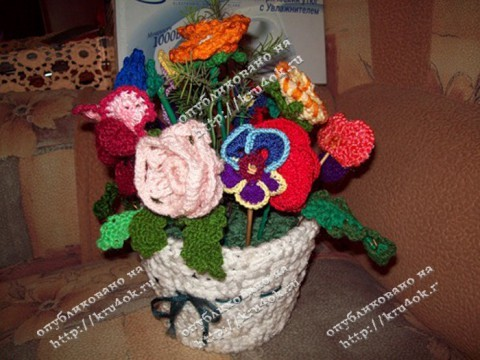 Вязаные цветы крючком от Татьяны