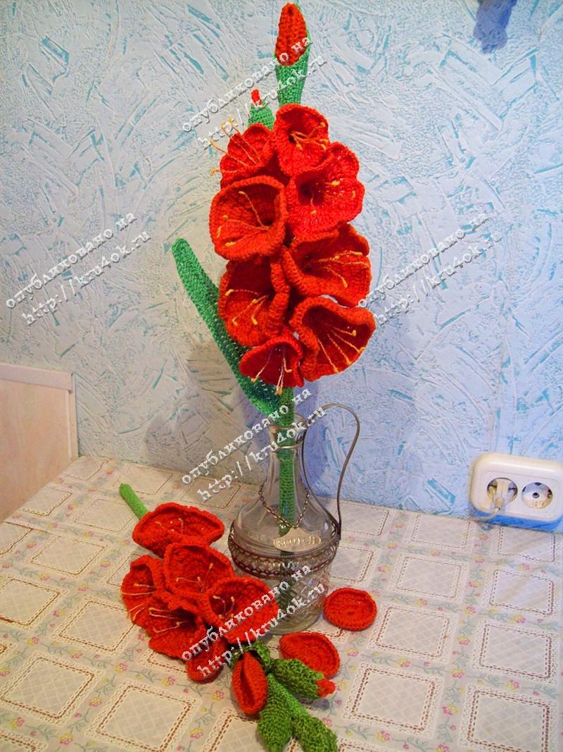 Вязаный букет цветов крючком.