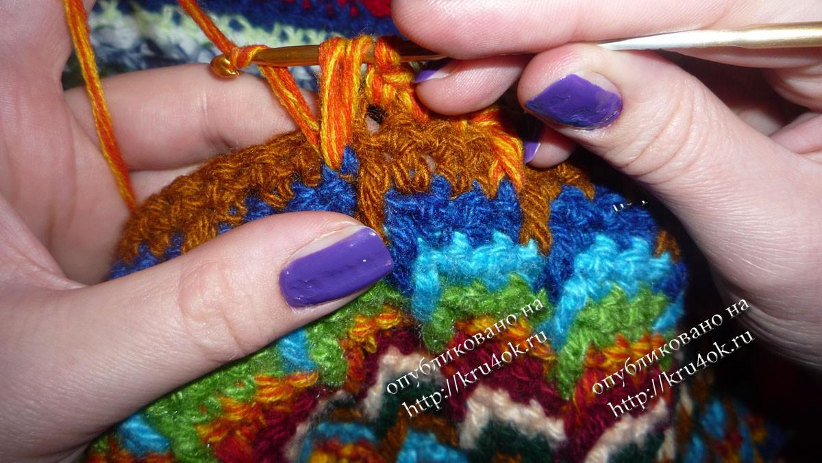 Вязание крючком из ниток разных цветов спицами