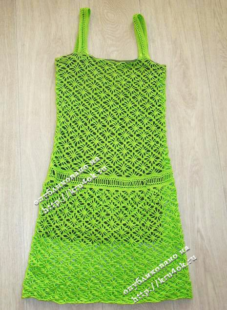 Зеленый сарафан, связанный крючком