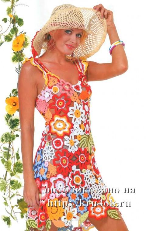 вязаный летний сарафан, платье