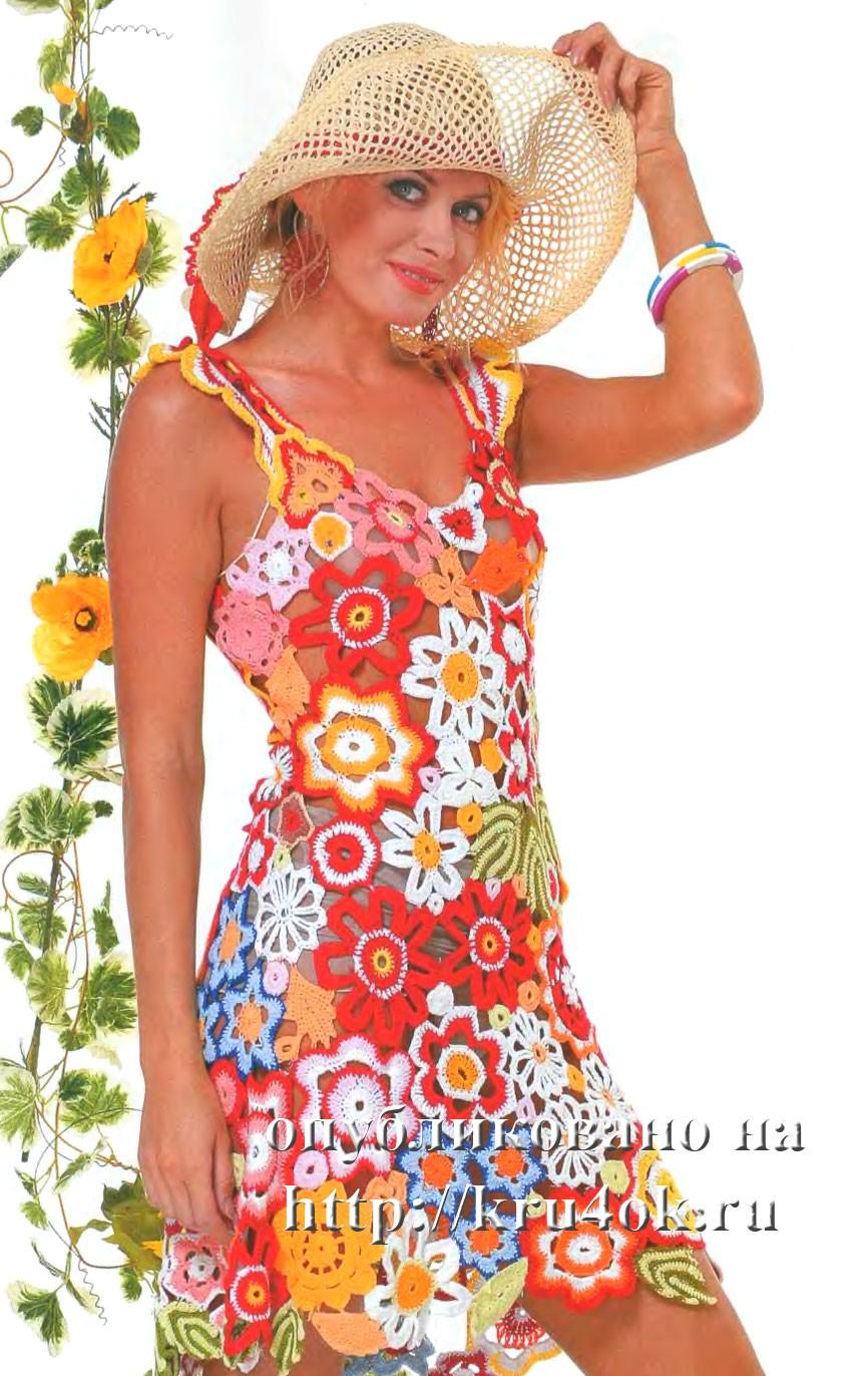 Платье связанное крючком — описание