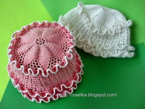 Вязание крючком летней панамы для девочки, вязание шапок