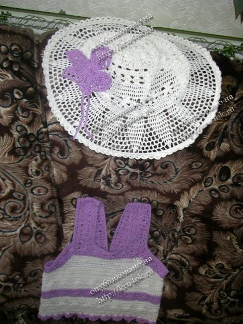 костюм для юной леди, связанный крючком
