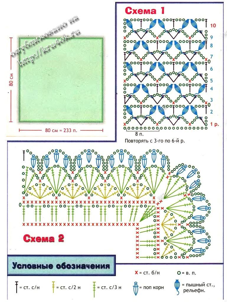 Схемы вязания покрывала детского крючком