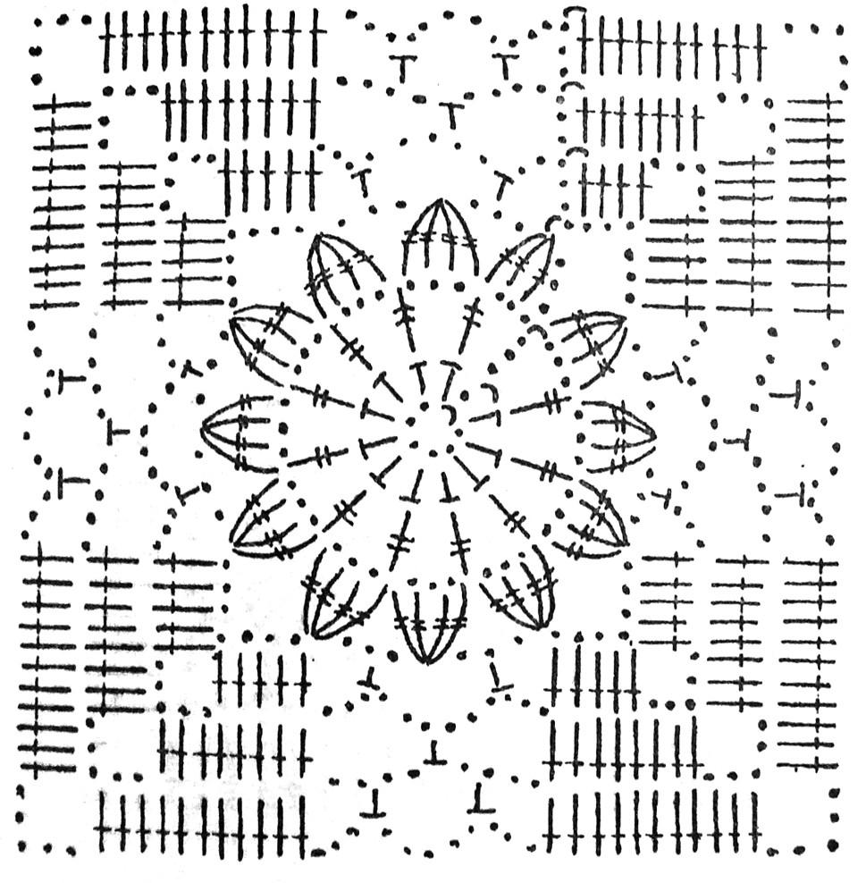 Схемы для вязания крючком квадратный мотив 667