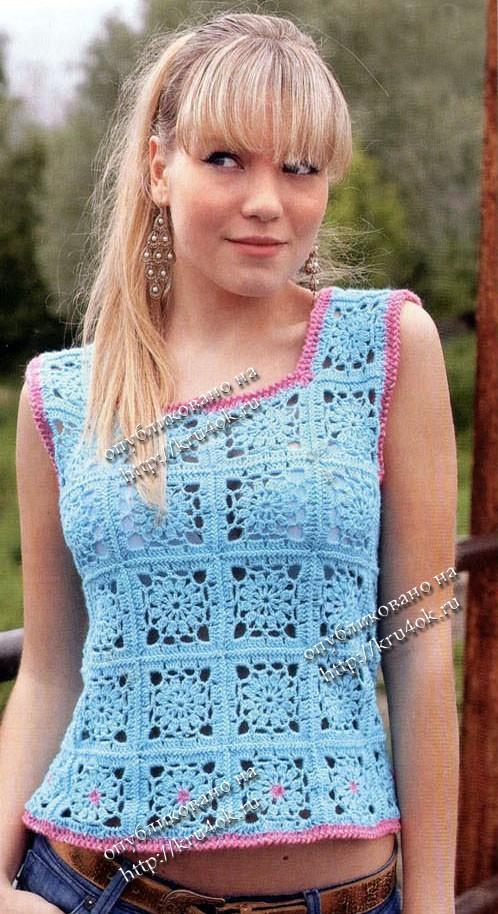 вязание крючком женской летней кофточки со схемами.