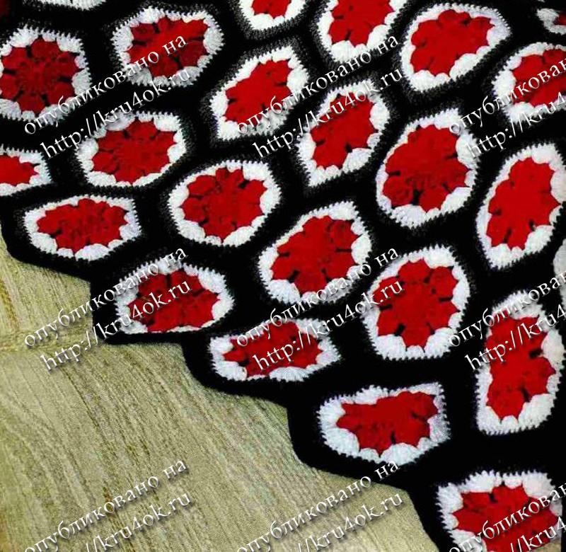 Вязание крючком розы в квадрате вязание пледов