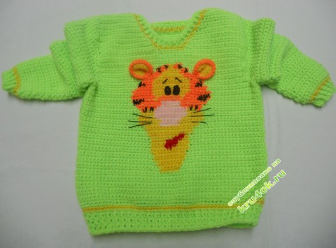 жаккардовый свитер крючком