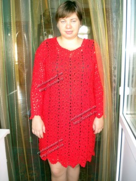 Красное платье, связанное крючком
