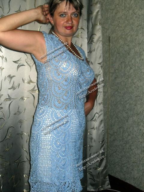 Платье связанное в технике ленточного кружева