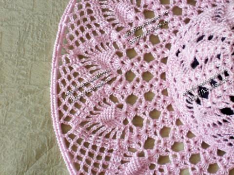 розовая шляпа, связанная