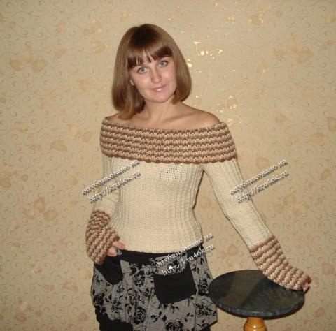 пуловер с широким отложным воротником