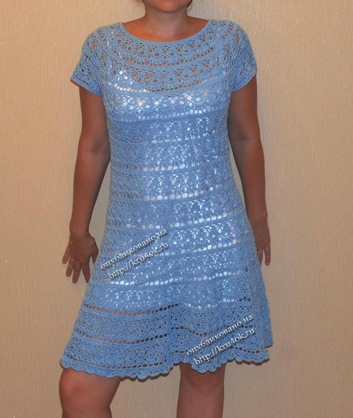 Вяжем крючком кокетку для платья