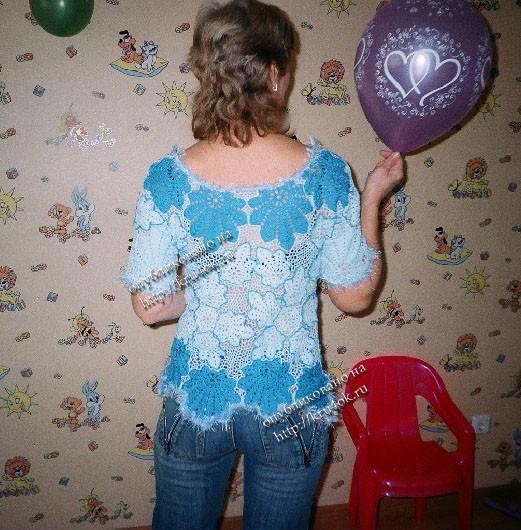 Летняя блузка крючком с ирландским кружевом - описание, схемы+фото