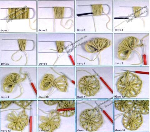 Вязание круглого элемента на вилке
