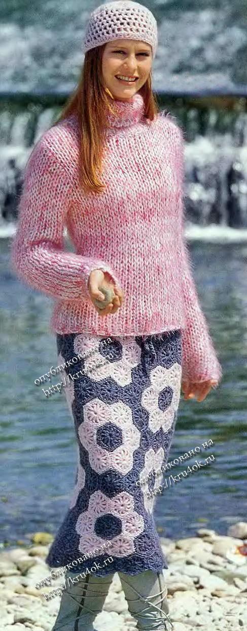 Вязаная юбка из шестигранных мотивов