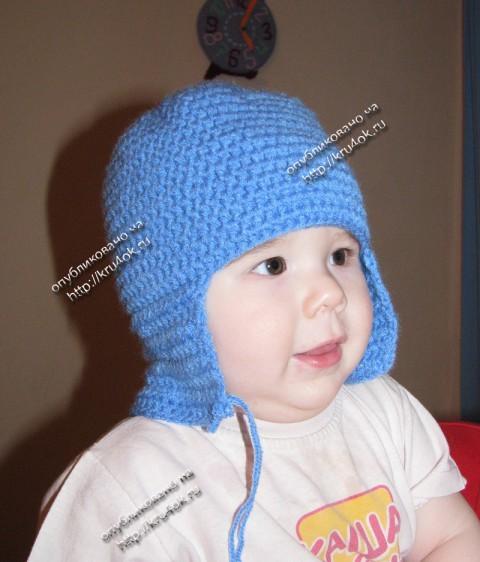 Шапка - шлем, связанная крючком