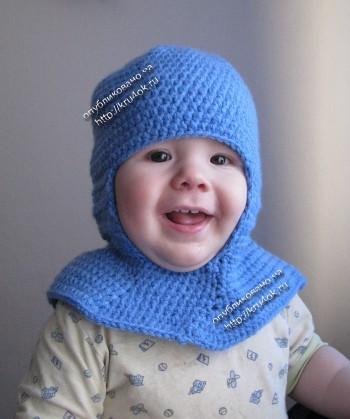 Шапка – шлем, связанная крючком