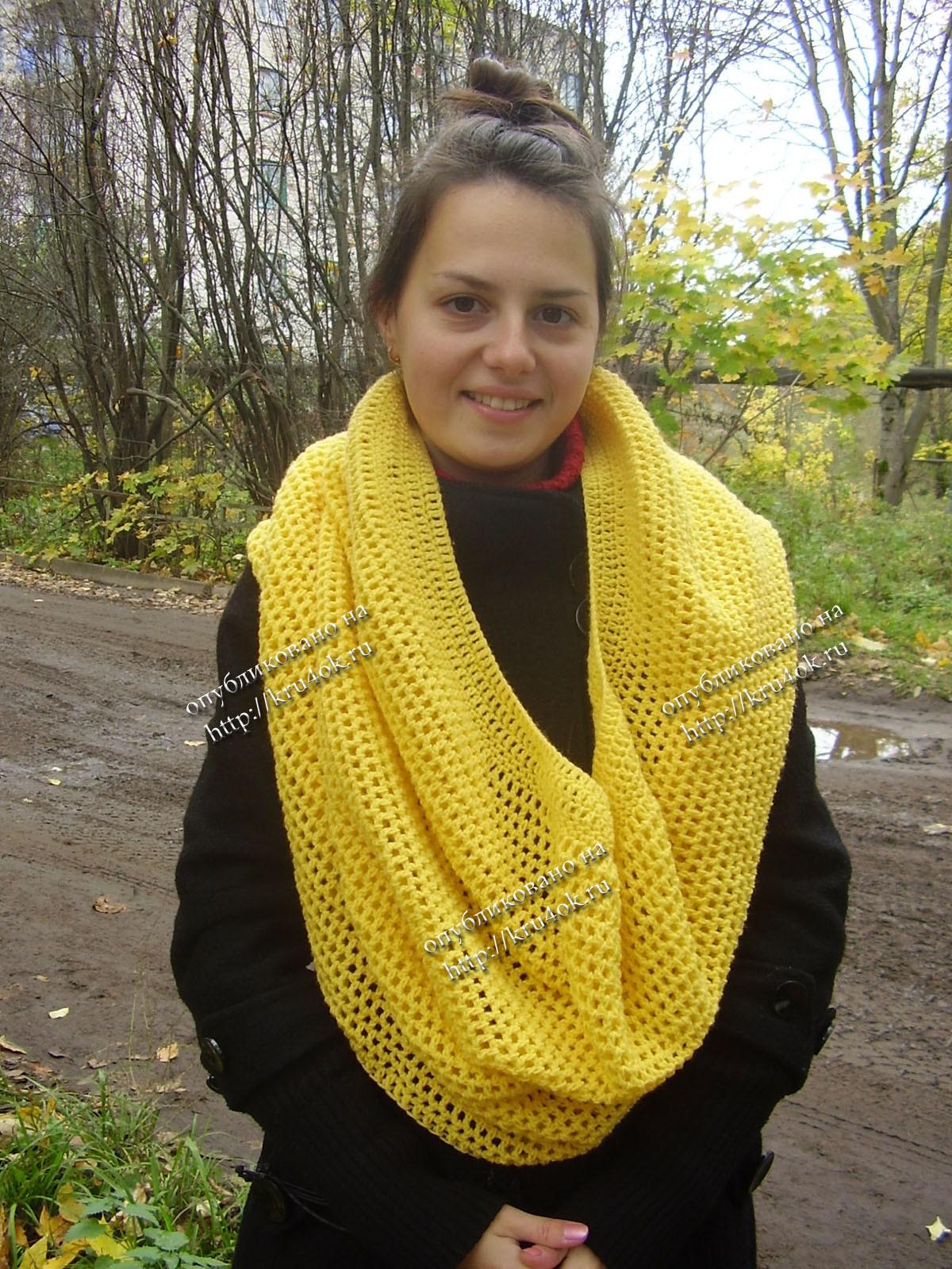 Первую половинку вяжем платочной... вязание спицами шарф снуд схема, и...