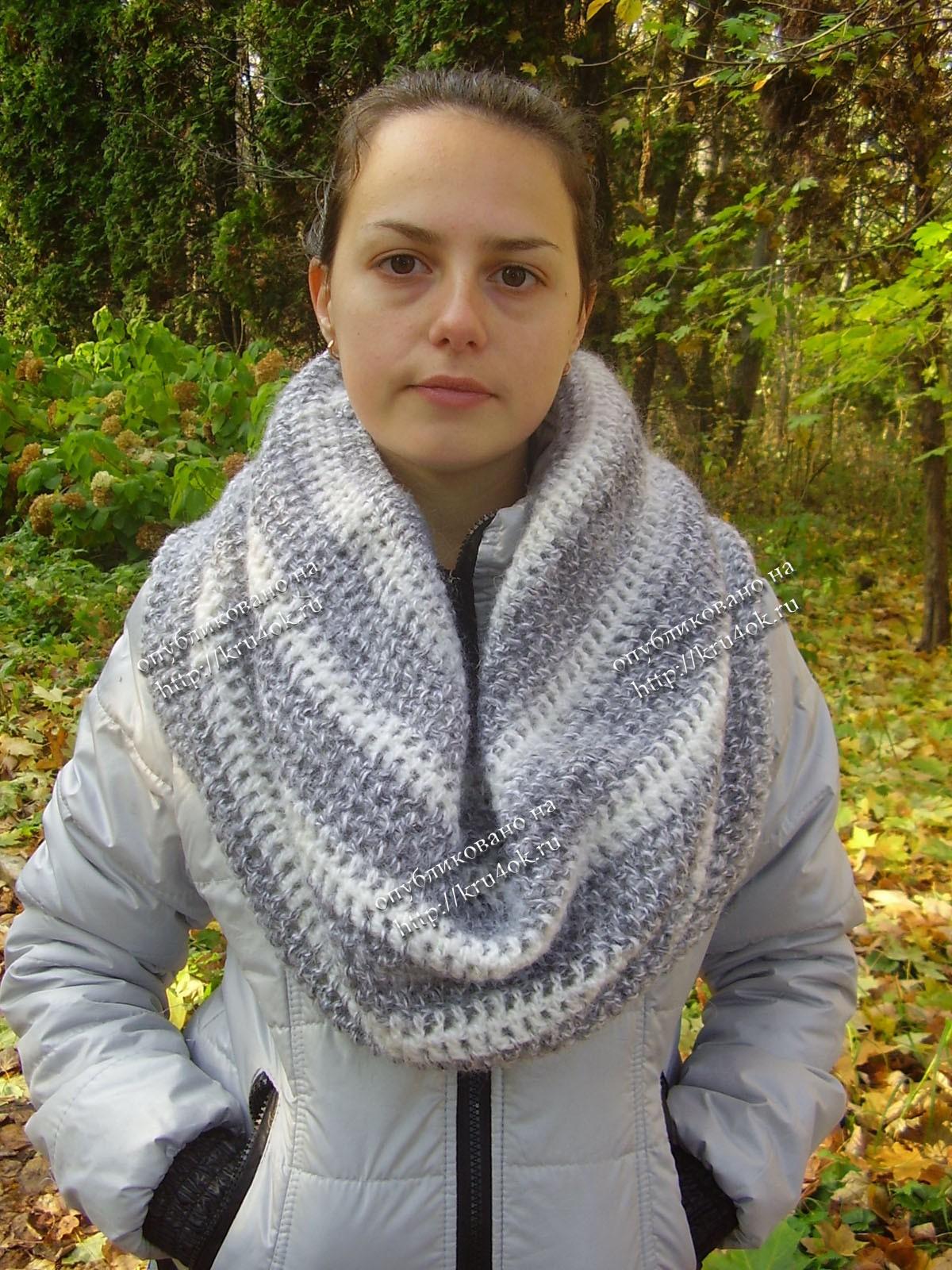 Описание: b спицами схема шарф снуд схема вязания.