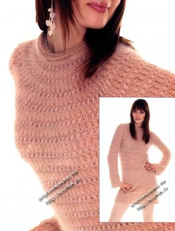 теплое платье, связанное крючком
