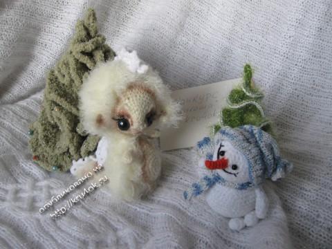 """Дракоша """"Сплюшка"""" и снеговик, связанные крючком"""