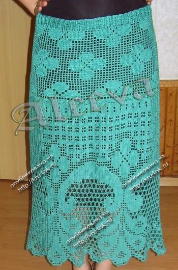юбка в филейной технике