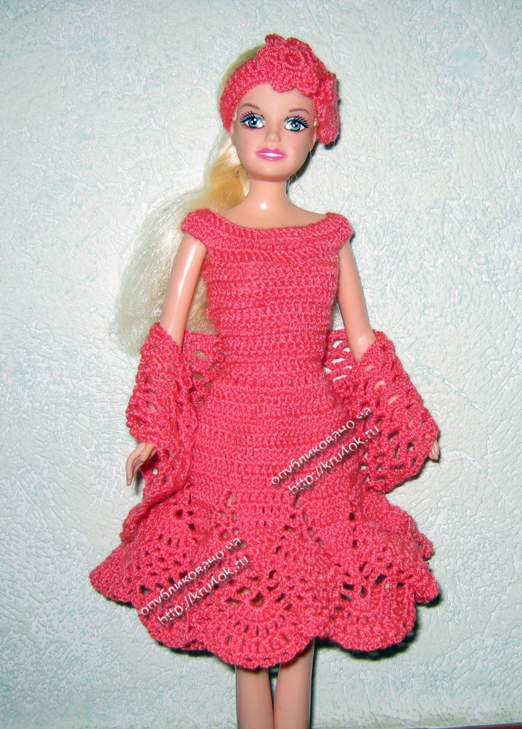 Красное платье для куклы крючком