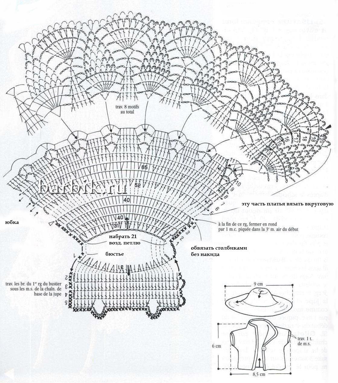 Вязание крючком платьев схемы