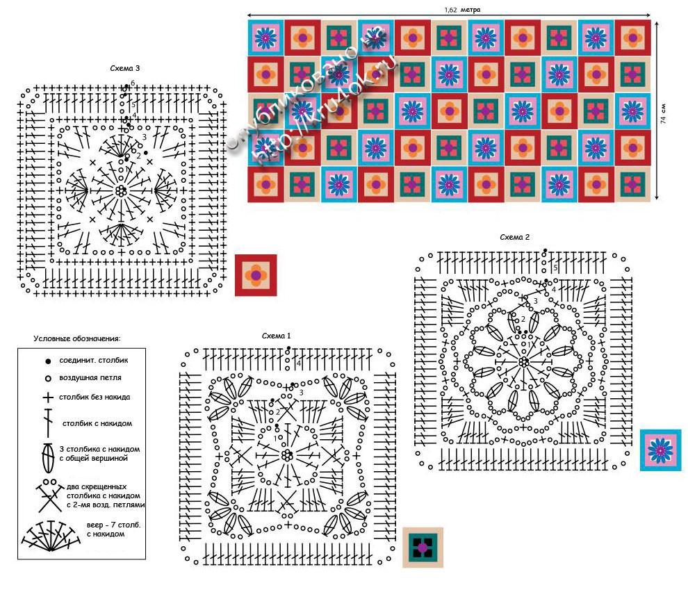 Квадрат для пледа схема