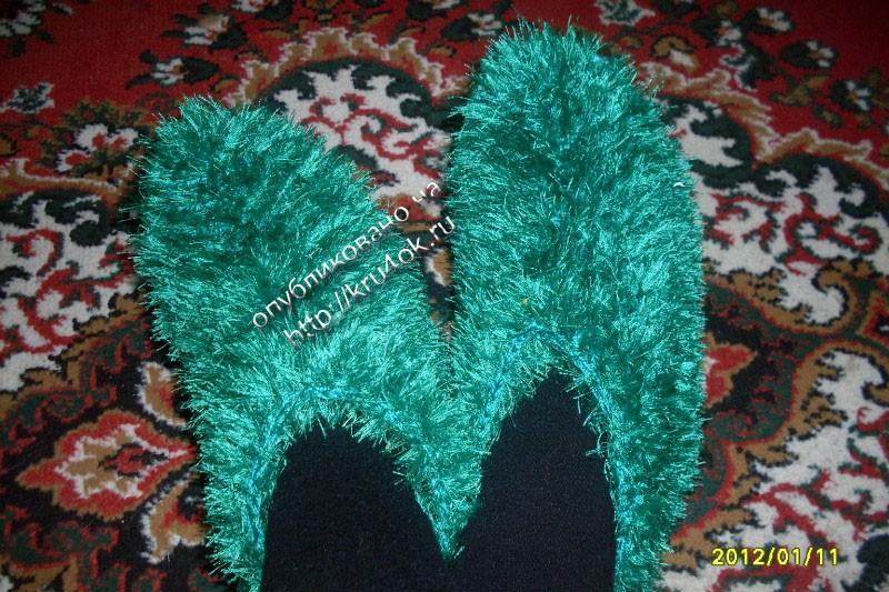 Вязание спицами из травки тапочки