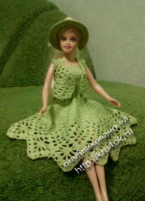 платье для барби , связанное крючком.