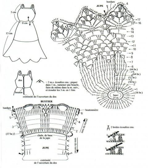 Связать крючком по схемам одежду для кукол.