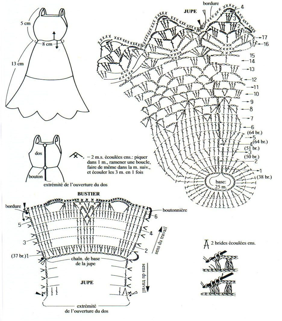 Вяжем крючком платье для барби схемы