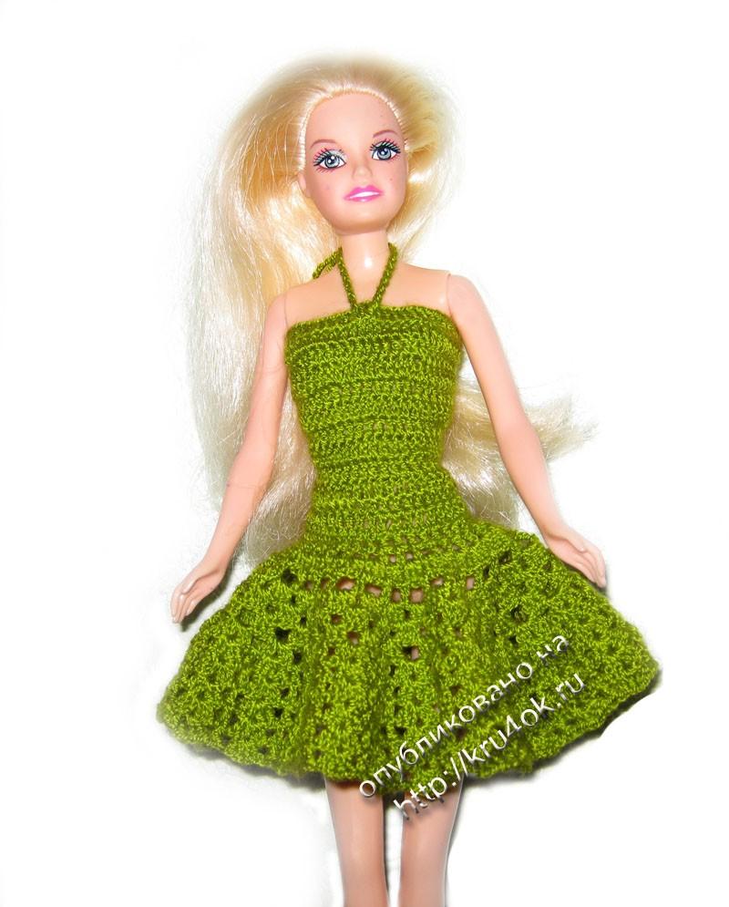 Вязанное платье на барби своими руками