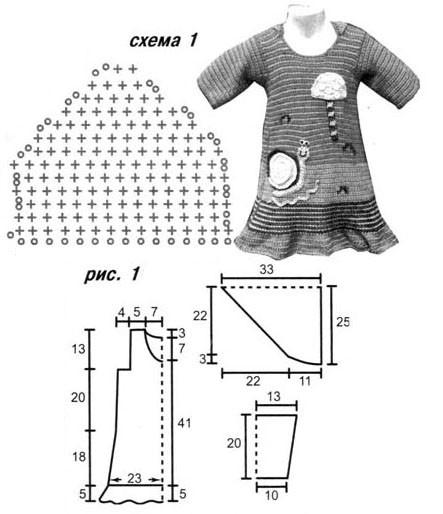 Платье с аппликацией, связанное крючком