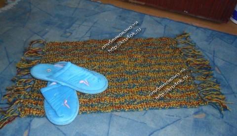 Вязание коврика в прихожую крючком