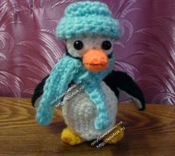 вязаная игрушка пингвин