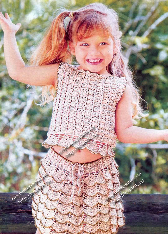 Вязание крючком.  Топ и юбка для девочки Размер комплекта: на 4 года.  Для вязания комплекта вам будет нужно: 400 г...