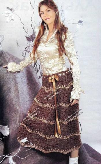 длинная юбка связанная крючком