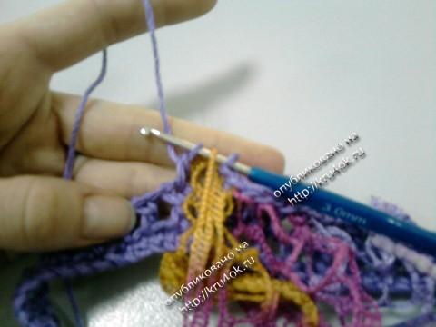 юбка с рюшами, связанная крючком