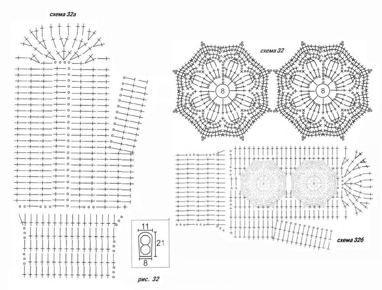 Варежки крючком, схемы вязания.